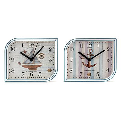 529-152 Будильник электронный Морской, прямоугольный, пластик, 13,2х11х4, 2 дизайна, 1хАА