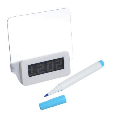 529-159 Часы-будильник с табло для записей, в комплекте с маркером, пластик, 13,5х14,3х6,8, USB, 3хААА