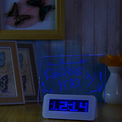 529-159 Часы-будильник с табло для записей, с маркером, пластик, 13,5х14,3х6,8 см, USB, 3хААА