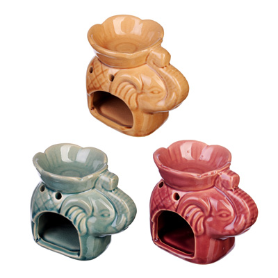 536-308 Аромалампа в виде слона, керамика, 10,5х8,5х7 см, 3 цвета