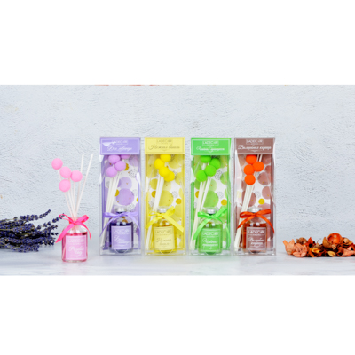 412-004 LADECOR Аромадиффузор с палочками и декором, 50мл, ароматы лаванды/корицы/розы/ванили/зеленого чая