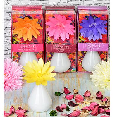 412-007 LADECOR Ароманабор 80мл с керамич. диффузором и декором, с ароматами фиалки, орхидеи, фрезии, сада