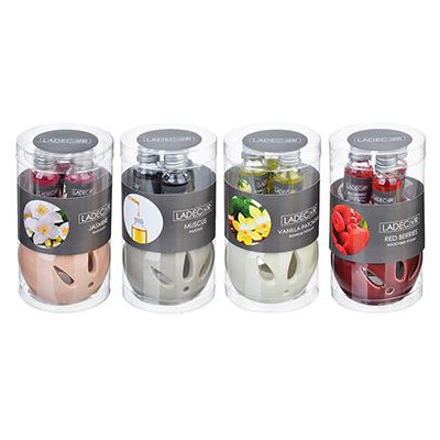 412-017 LADECOR Ароманабор лампа и масло, 3штx10мл, с ароматами красных ягод, ванили-пачули,жасмина, мускуса