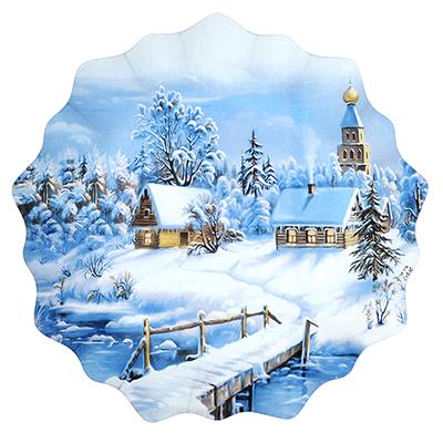 820-006 Волшебница-Зима Блюдо круглое, 25см, стекло