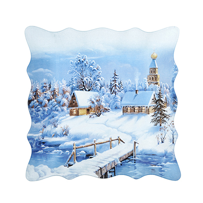 820-007 Волшебница-Зима Блюдо квадратное, 20см, стекло