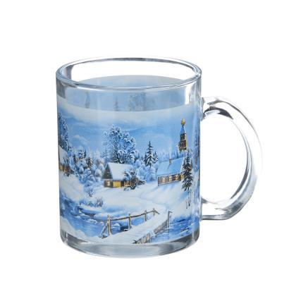 820-013 Зима Кружка, 320мл, стекло, 3 дизайна