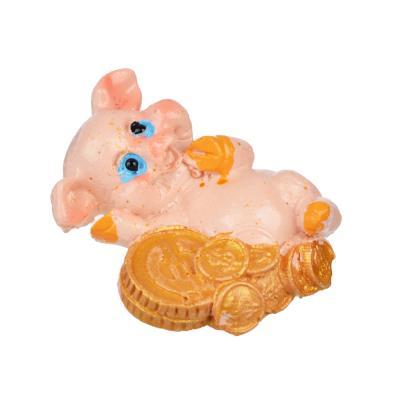 359-681 СНОУ БУМ Магнит в виде свинки с монетами, полистоун, 4 дизайна