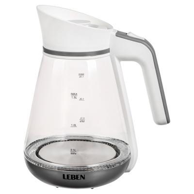 291-060 Чайник электрический 1,5 л LEBEN, 1850 Вт, стекло-кувшин, LED подсветка
