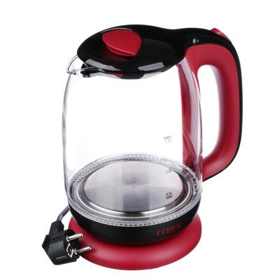 291-062 Чайник электрический 1,7 л LEBEN, 1850 Вт, стекло/пластик, красный
