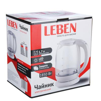 291-064 Чайник электрический LEBEN 1,7л, 1850Вт, скрытый нагревательный элемент, автоотключение