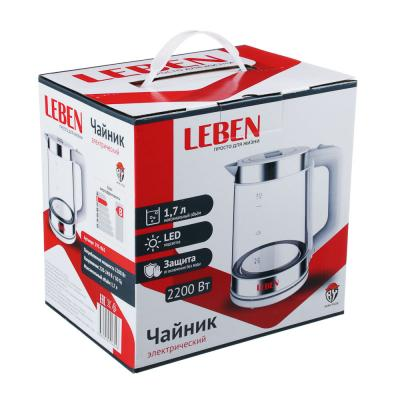 291-065 LEBEN Чайник электрический 1,7л, стекло, LED подсветка