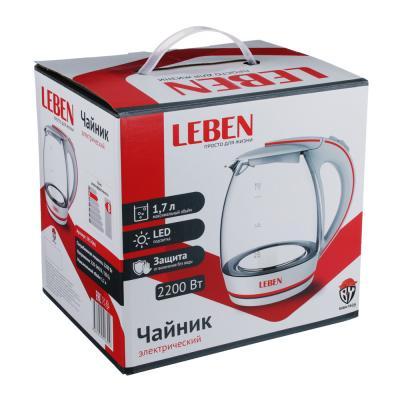 291-066 Чайник электрический 1,7 л LEBEN, 2200 Вт, стекло/пластик, LED подсветка, белый/красный