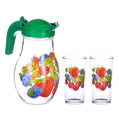 878-348 Набор: стакан 250 мл- 2шт, кувшин 1,7л с пласт. крышкой, стекло, подар/уп, арт.1607/2- Д