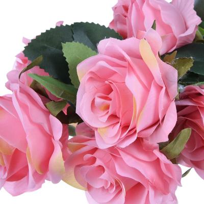 409-004 Цветок искусственный в виде роз, букет, 48 см, пластик, полиэстер, 4 цвета
