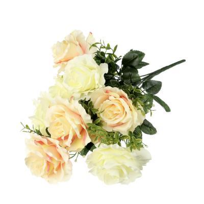 409-005 LADECOR Цветок искусственный в виде роз, букет, 43 см, пластик, полиэстер, 2 цвета