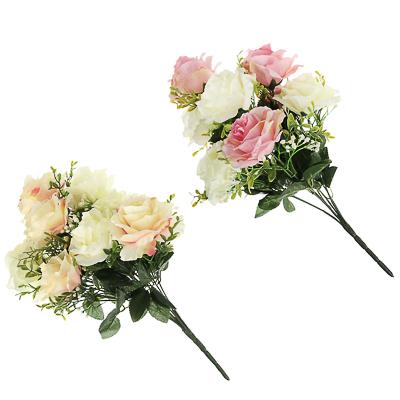 409-005 Цветок искусственный в виде роз, букет, 43 см, пластик, полиэстер, 2 цвета