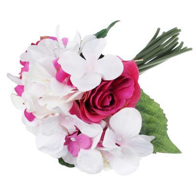 409-007 Цветок искусственный, букет с розами и гортензиями, 27 см, пластик, полиэстер, 3 цвета