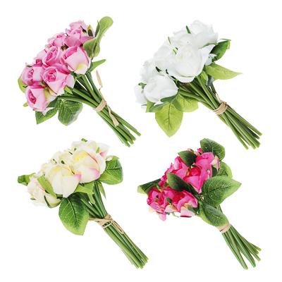409-008 Цветок искусственный в виде роз, букет, пластик, полиэстер, 23 см