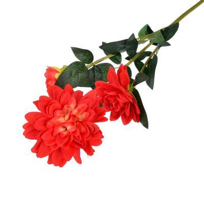 409-010 Цветок искусственный в виде георгин, ветка, 92 см, пластик, полиэстер, 5 цветов