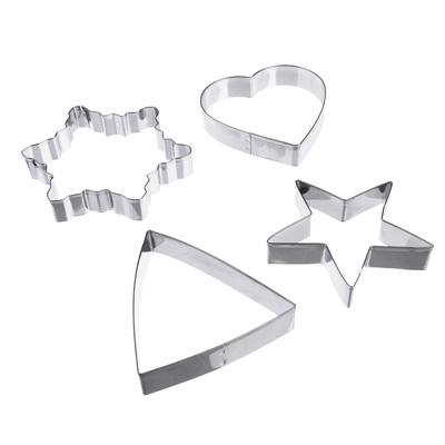 884-424 Набор форм для печенья: снежинка, звезда, треугольник, сердце, нержавеющая сталь, 10х10х2см, VETTA