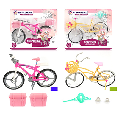 278-090 ИГРОЛЕНД Велосипед для куклы, пластик, 28,5х33х7,5см, 4 дизайна