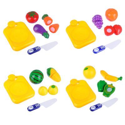294-071 ИГРОЛЕНД Набор овощей и фруктов для резки, 5пр., пластик, 17х20,5х4,5см, 4 дизайна