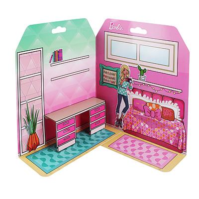 C12-008 Barbie Домик из картона с комплектом наклеек, бумага, PVC, 23x35см