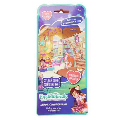 C12-009 Enchantimals Домик из картона с комплектом наклеек, бумага, PVC, 13,5х29,5см