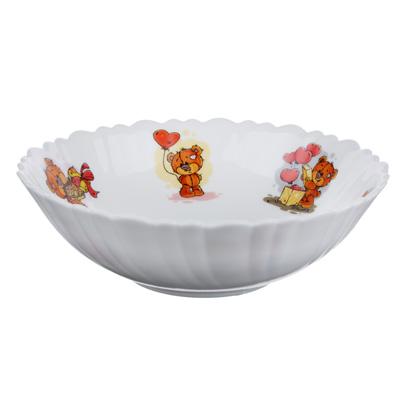 """829-173 Тарелка суповая детская 15 см, опаловое стекло, MILLIMI """"Медвежонок"""""""
