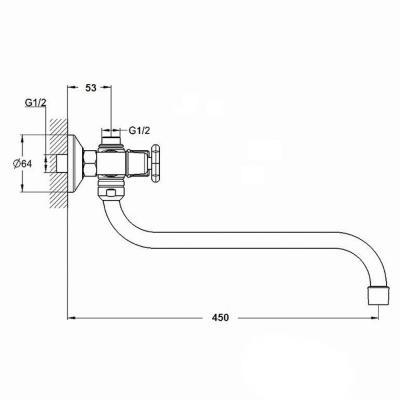 561-260 Смеситель для ванны с душем RAIN Нефрит, двухвентильный,  круглый излив 40см, хром