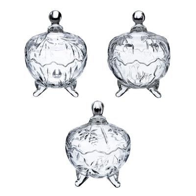 """877-593 Конфетница с крышкой, стекло, 14x18,5 см, 3 формы, """"Мариана"""""""