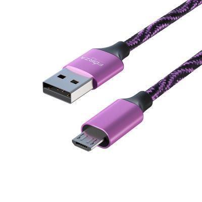 470-033 FORZA Шнур для зарядки micro USB, 1.5 А, цветная оплетка, 1м