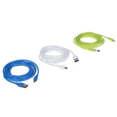 470-036 FORZA Кабель для зарядки Micro USB, 2м, 1,5А, синхр. с ПК, 3 цвета, коробка ПВХ
