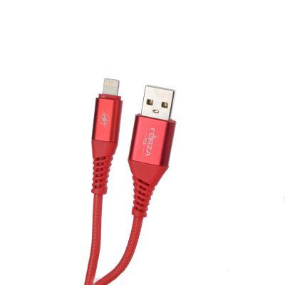 470-040 FORZA Кабель для зарядки iP, 1м, 2А, 3 цвета, коннект с ПК, прорезиненный, коробка ПВХ