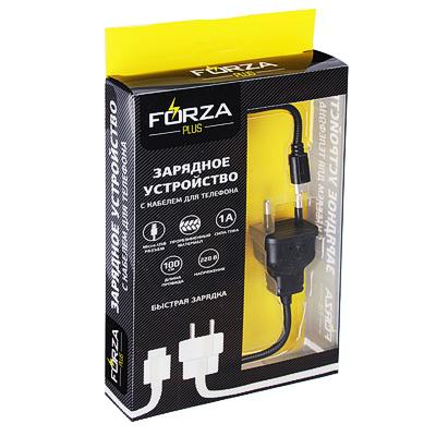 470-042 FORZA Кабель для зарядки с вилкой 220В, Micro USB, 1м, 1А, прорезиненный, 2 цвета, коробка ПВХ