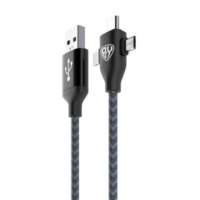 470-045 FORZA Кабель для зарядки 3 в 1, Micro USB и iP, Type-C, 1м, 2А, тканевая оплетка, коробка ПВХ