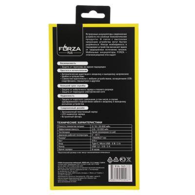 916-163 FORZA Аккумулятор мобильный 16000 мАч, 2А, 2 входа, темно-серый