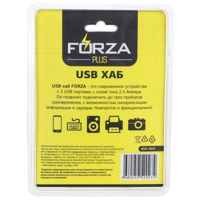 405-004 FORZA USB хаб, 3 входа, длина провода 1,2м, 2.4А