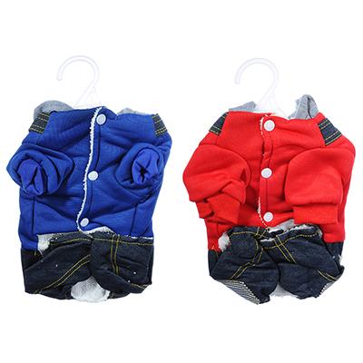 151-113 Комбинезон для животных, с капюшоном, полиэстер, 25, 30, 35см, красный, синий
