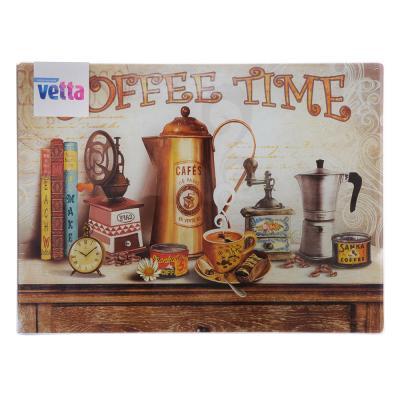 """853-198 Доска разделочная стеклянная 30х40х0,4см, VETTA """"Кофе"""""""
