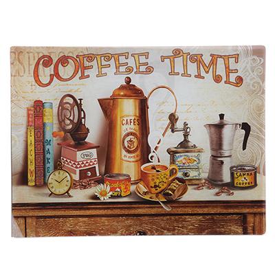 853-198 Доска разделочная стеклянная VETTA Кофе, 30х40х0,4 см