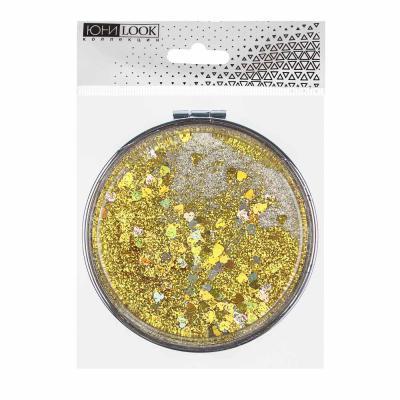 301-236 Зеркало карманное с глиттером ЮниLook, d.7 см, 4 цвета