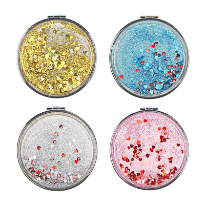 301-236 Карманное зеркало с глиттером, круглое d. 7 см, сплав, пластик, стекло, 4 цвета