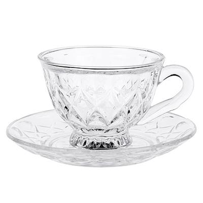 """806-406 Чайная пара (кружка 200 мл с блюдцем), стекло, """"Лидия"""""""