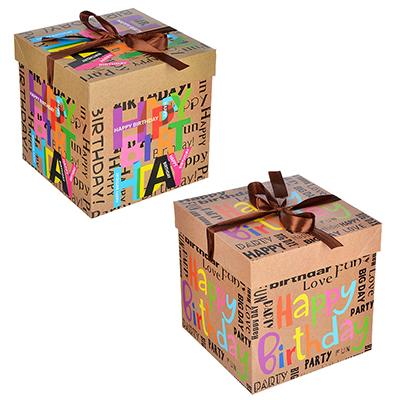 207-018 Коробка подарочная, складная, бумага, 20х20х20 см, 4 дизайна с цветами