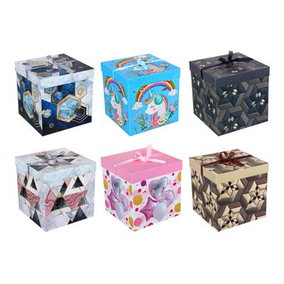207-019 Коробка подарочная, складная, бумага, 25х25х25 см, 4 цвета