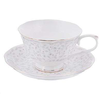 """821-961 Чайный сервиз: чашка 250 мл, блюдце 15 см, костяной фарфор, MILLIMI """"Тайна"""""""