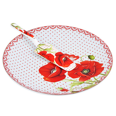 """821-982 Набор для торта: блюдо 26.5 см, лопатка, фарфор, """"Маков цвет"""""""