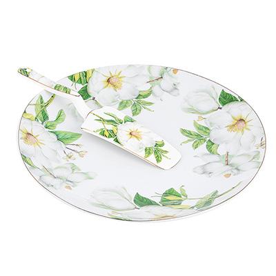 """821-983 Набор для торта: блюдо 26.5 см, лопатка, фарфор, """"Белая роза"""""""