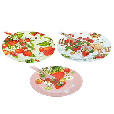 """877-604 Набор для торта: блюдо 30 см, лопатка, стекло, 3 дизайна, """"Ягоды"""""""